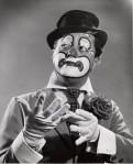 """Linn """"Barnaby"""" Sheldon in unusual clown makeup date unknown"""