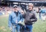 "Bob Kovach TV8 Producer and John ""JP"" Paustian TV8 Photog at Cleveland Stadium"