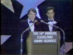Casey Coleman TV8 and Leon Bibb TV3 at 1983 Emmy Awards