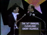 1983 Emmys Howie Mandel (with hair) and Lil' John Renaldi (without hair)