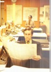 1971 Dave Patterson in WEWS Newsroom, Bob Zames in background