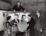 WEWS Election night team 1960, Dorothy Fuldheim, Tom Field, Joel Daly and Jack Perkins