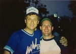 TV8 Reporter Don Olson and Producer Bob Kovach at TV8 Softball game 1989